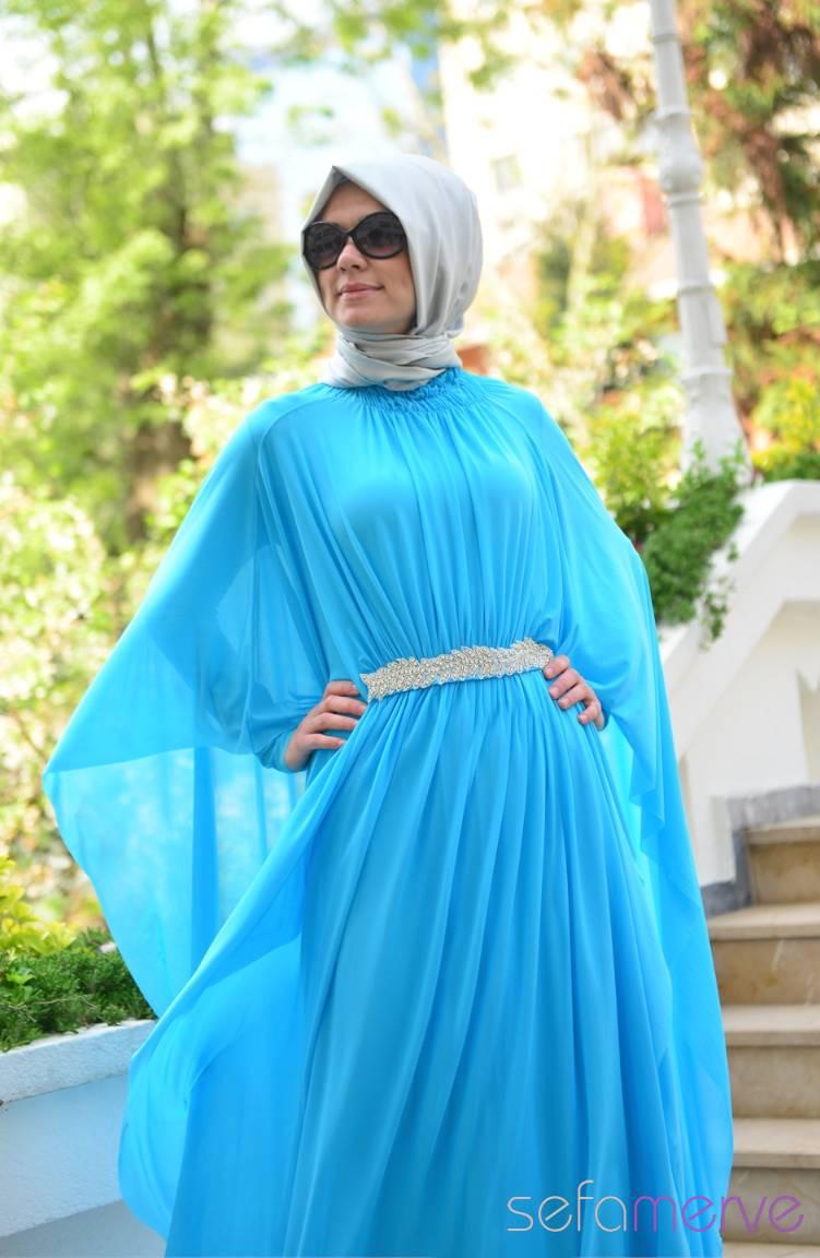 Sefamerve Abiye Modelleri Sefamerve Elbise Modelleri 40849-03 Mavi