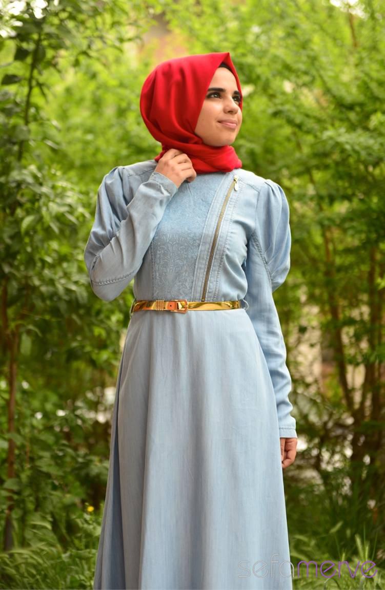 Şükran Elbiseler Yeni Sezon Şükran Elbise 4132-01 Buz Mavi