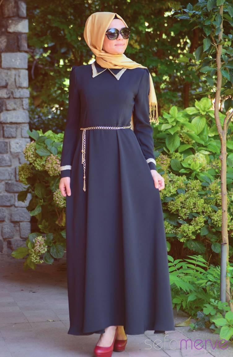 Şükran Elbiseler Yeni Sezon Şükran Elbise 4138-03 Lacivert