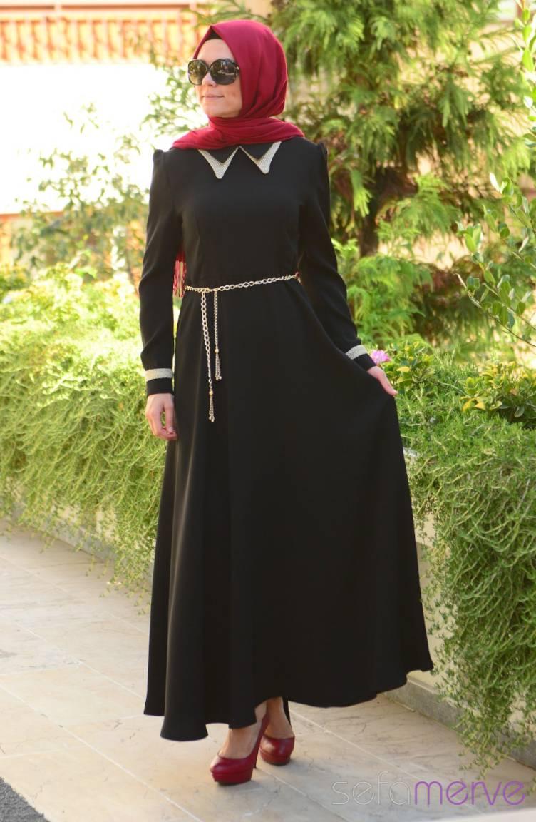 Şükran Elbiseler Yeni Sezon Şükran Elbise 4138-01 Siyah