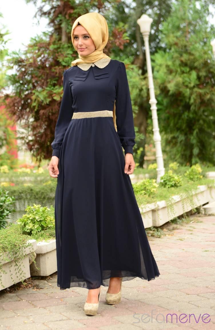Tesettür Elbise Fy Collection Tesettür Elbise FY 52077-01 Lacivert