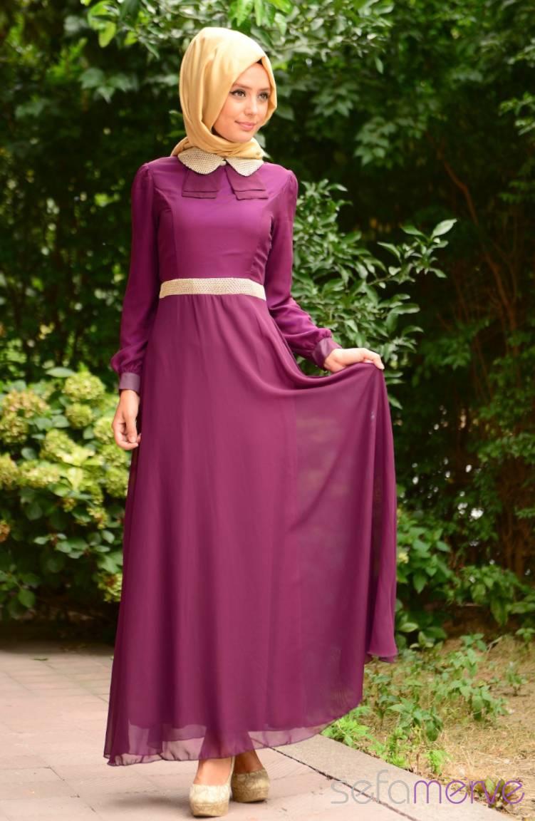 Tesettür Elbise Fy Collection Tesettür Elbise FY 52077-02 Mor