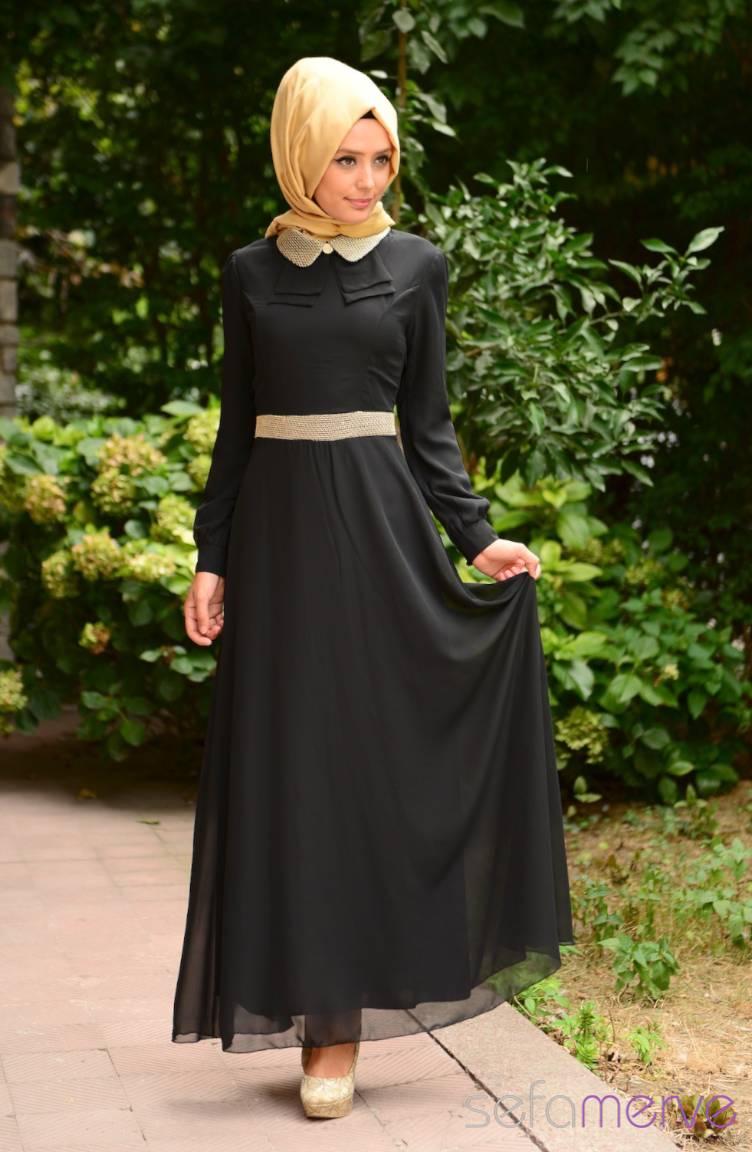 Tesettür Elbise Fy Collection Tesettür Elbise FY 52077-03 Siyah