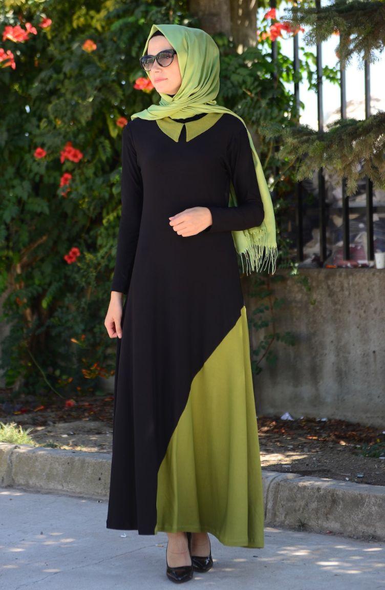 Mileny Tesettür Kombinler Mileny Tesettür Elbise 0071-02 Siyah Fıstık Yeşili