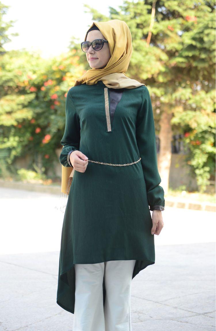 Tesettür Kap Fy Collection Tesettür Tunik FY 82319-02 Yeşil