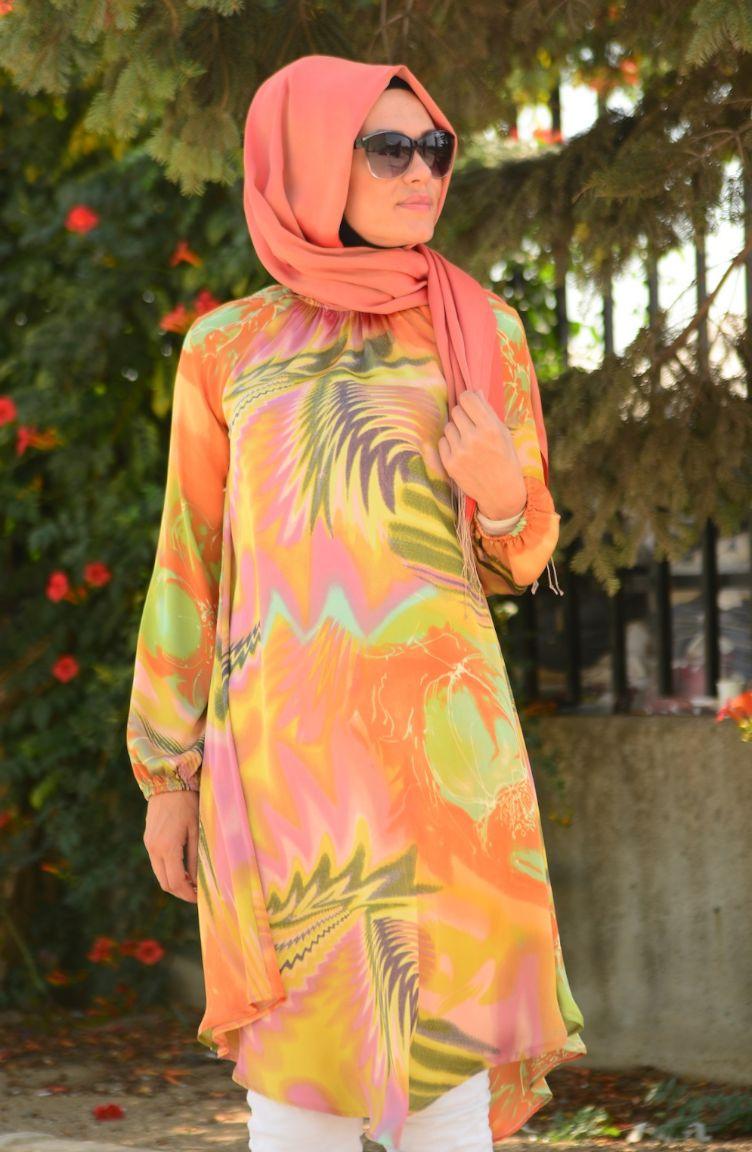 Tesettür Giyim Tubanur Kombinler Tubanur Tesettür Tunik 2178-01 Yeşil