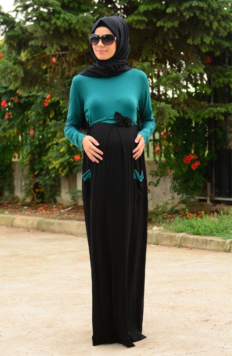 Tesettür Hamile Kıyafetleri Tesettür Hamile Elbise 4111-04 Koyu Yeşil