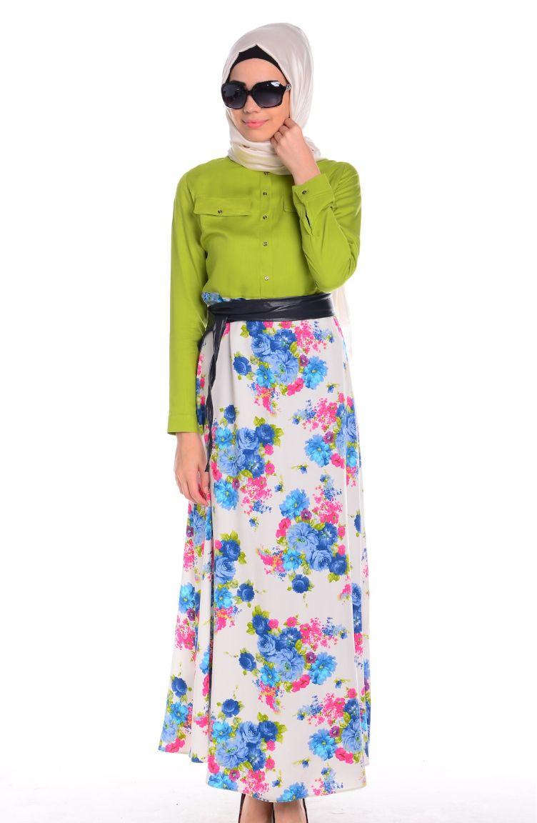 İndirim Günleri Tesettür Elbise All Day 2152-05 Fıstık Yeşili