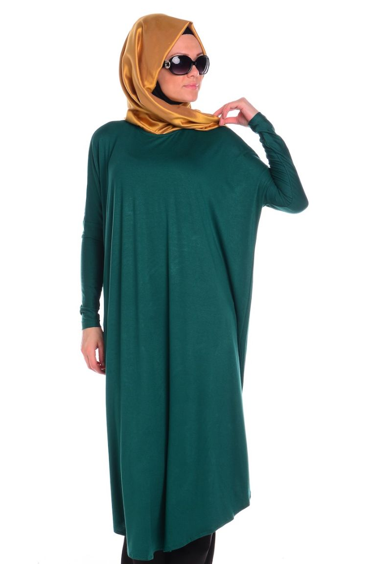 Afili Gömlek Tunik ve Pantolonlar Tesettür Tunik AFL 1740-05 Yeşil