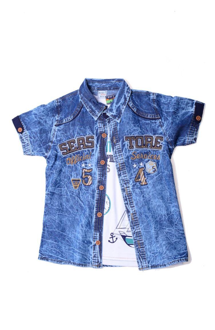 Sefamerve Çocuk Kıyafetleri Tshirt Gömlek Takım 0103T-05 Lacivert Kahverengi