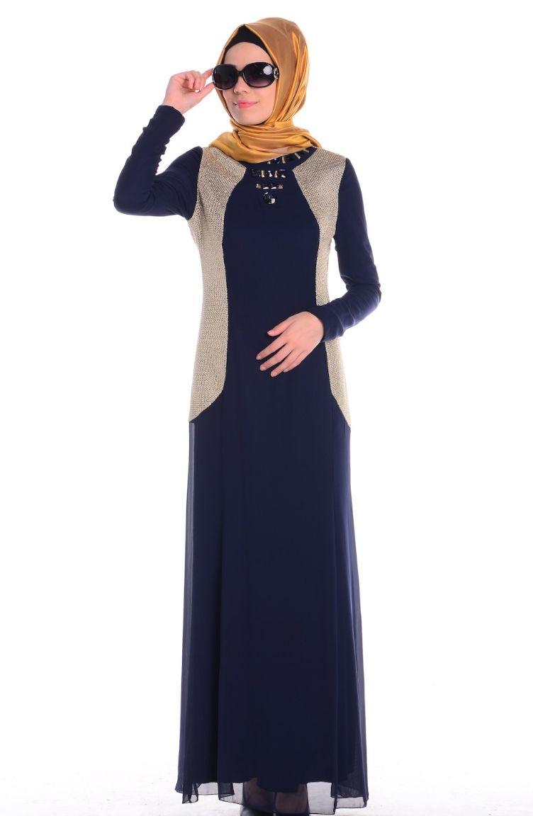 Sefamerve Abiye Modelleri ZRF Tesettür Elbise 0439-02 Lacivert