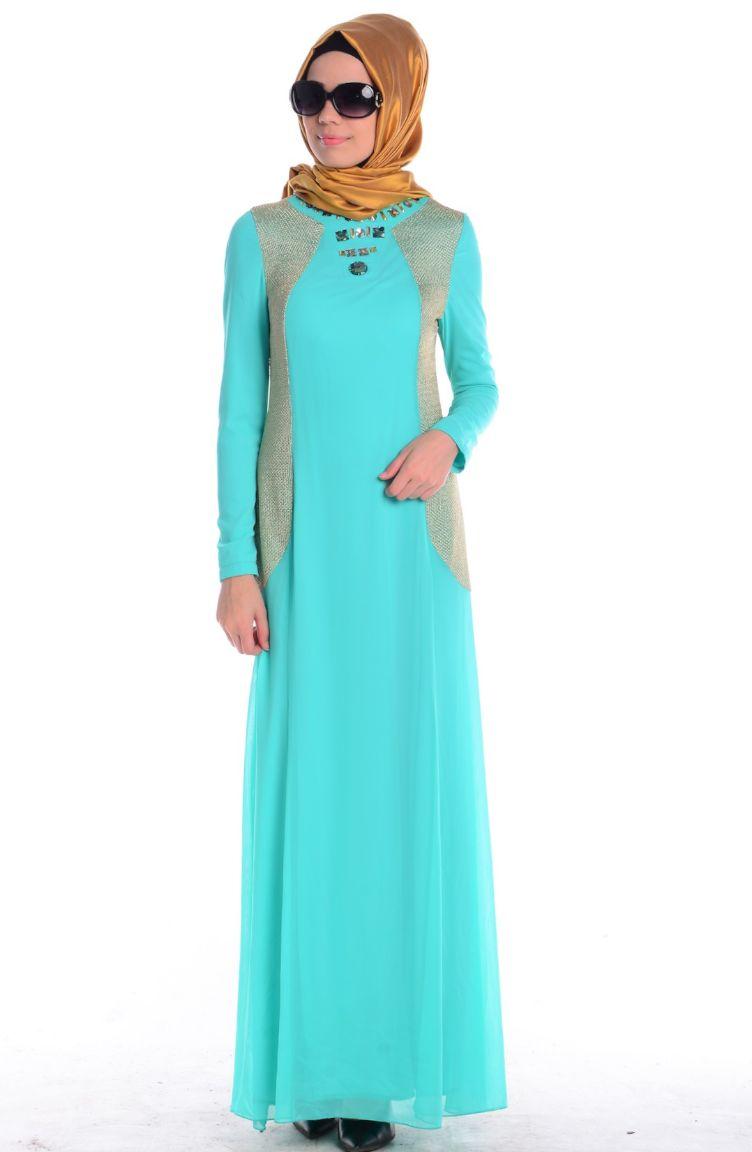 Sefamerve Abiye Modelleri ZRF Tesettür Elbise 0439-03 Mint Yeşili