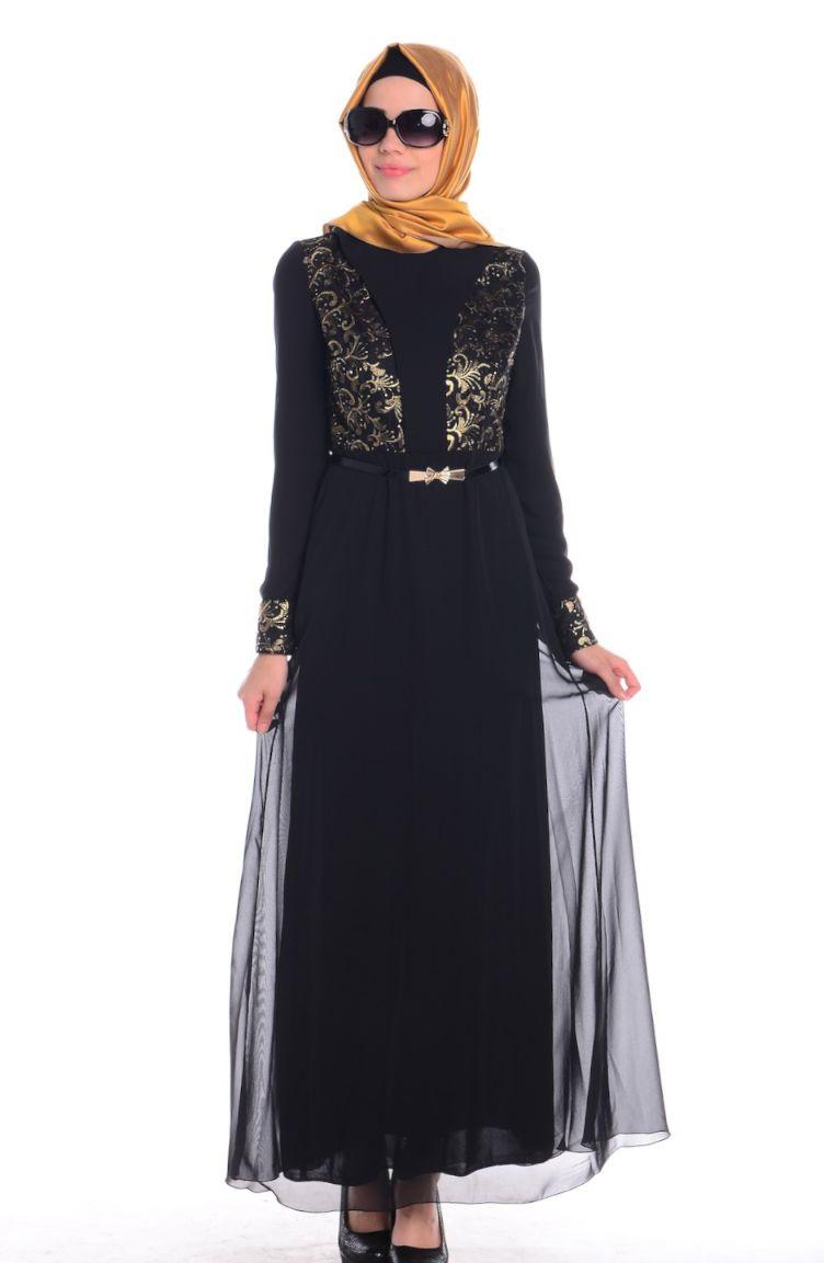 Sefamerve Abiye Modelleri ZRF Tesettür Elbise 0432-05 Siyah