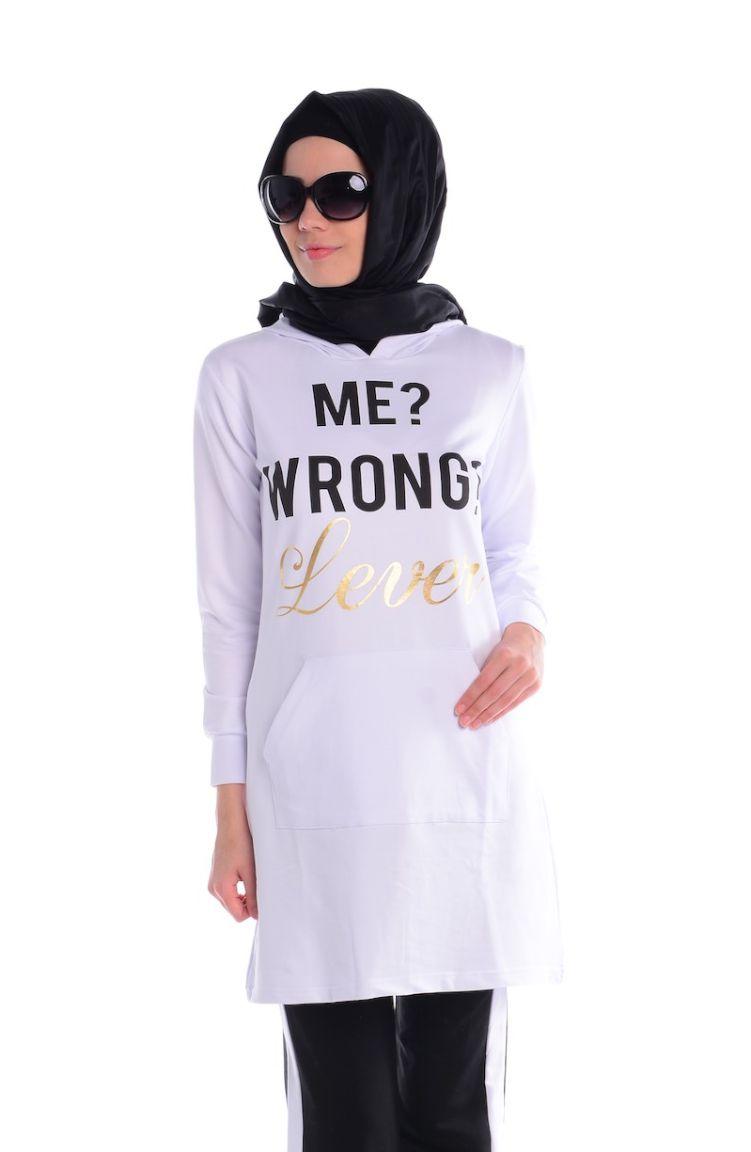 Crn Tesettür Giyim Tesettür Eşofman Takım CRN 1500-01 Siyah Beyaz