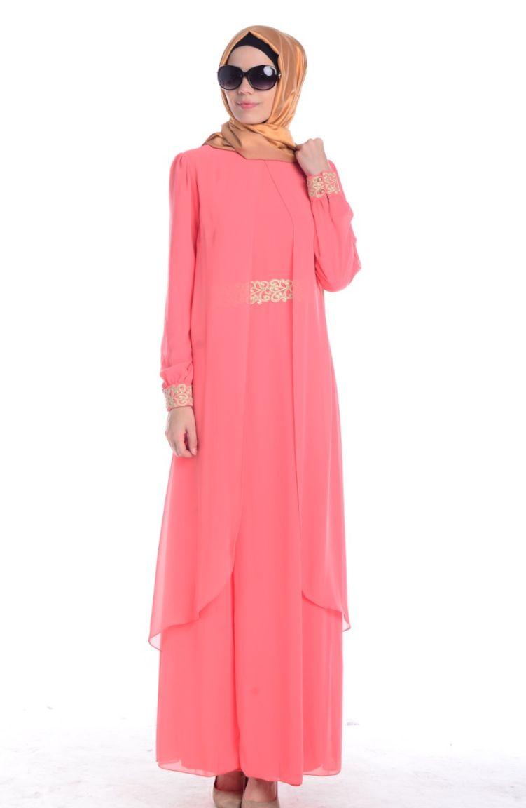 Sefamerve Abiye Modelleri Tesettür Elbise FY 52221-09 Açık Mercan