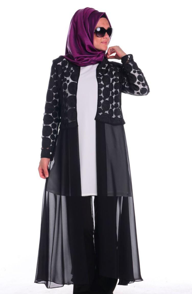 Sefamerve Abiye Modelleri Abiye Ceket Tunik Takım 4166-01 Ekru Siyah