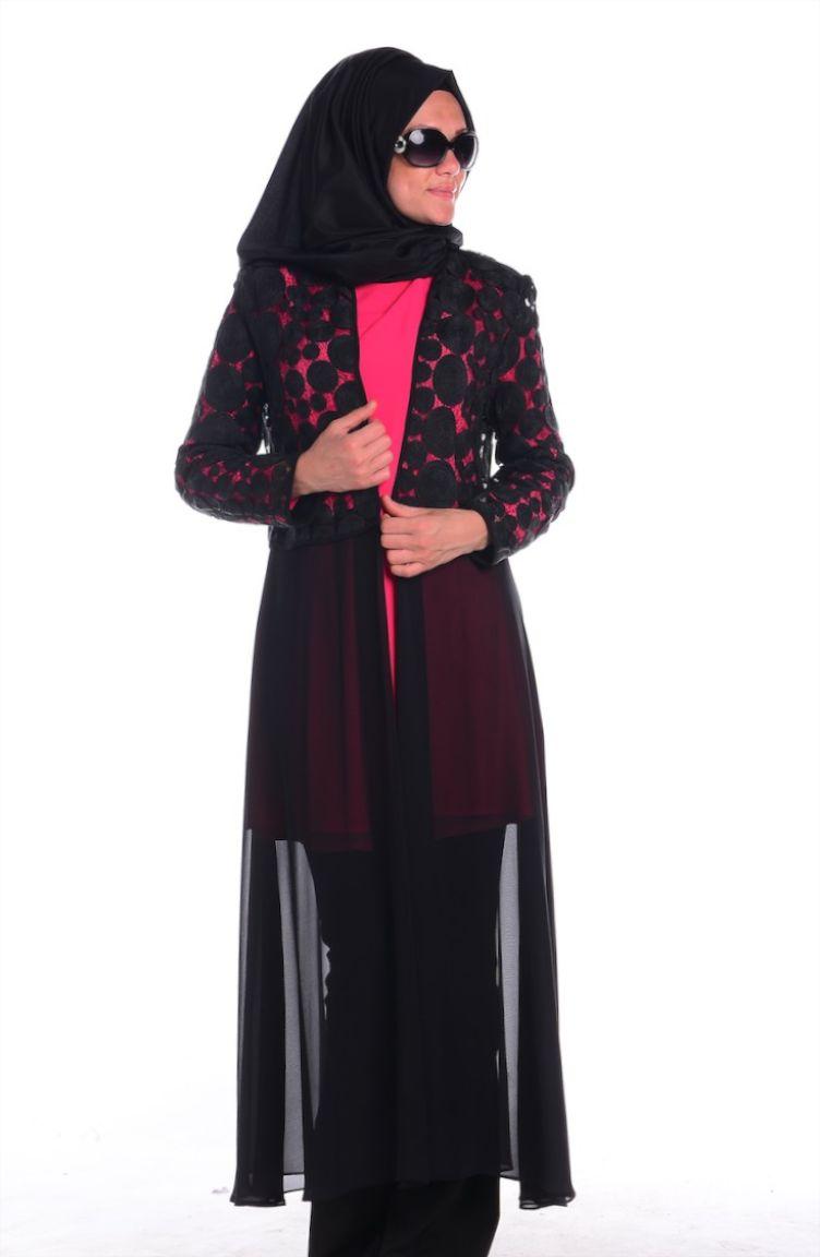 Sefamerve Abiye Modelleri Abiye Ceket Tunik Takım 4166-03 Fuşya Siyah