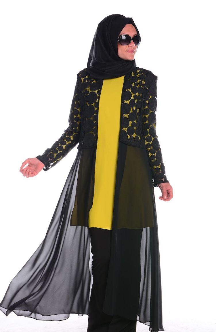 Sefamerve Abiye Modelleri Abiye Ceket Tunik Takım 4166-02 Yeşil Siyah