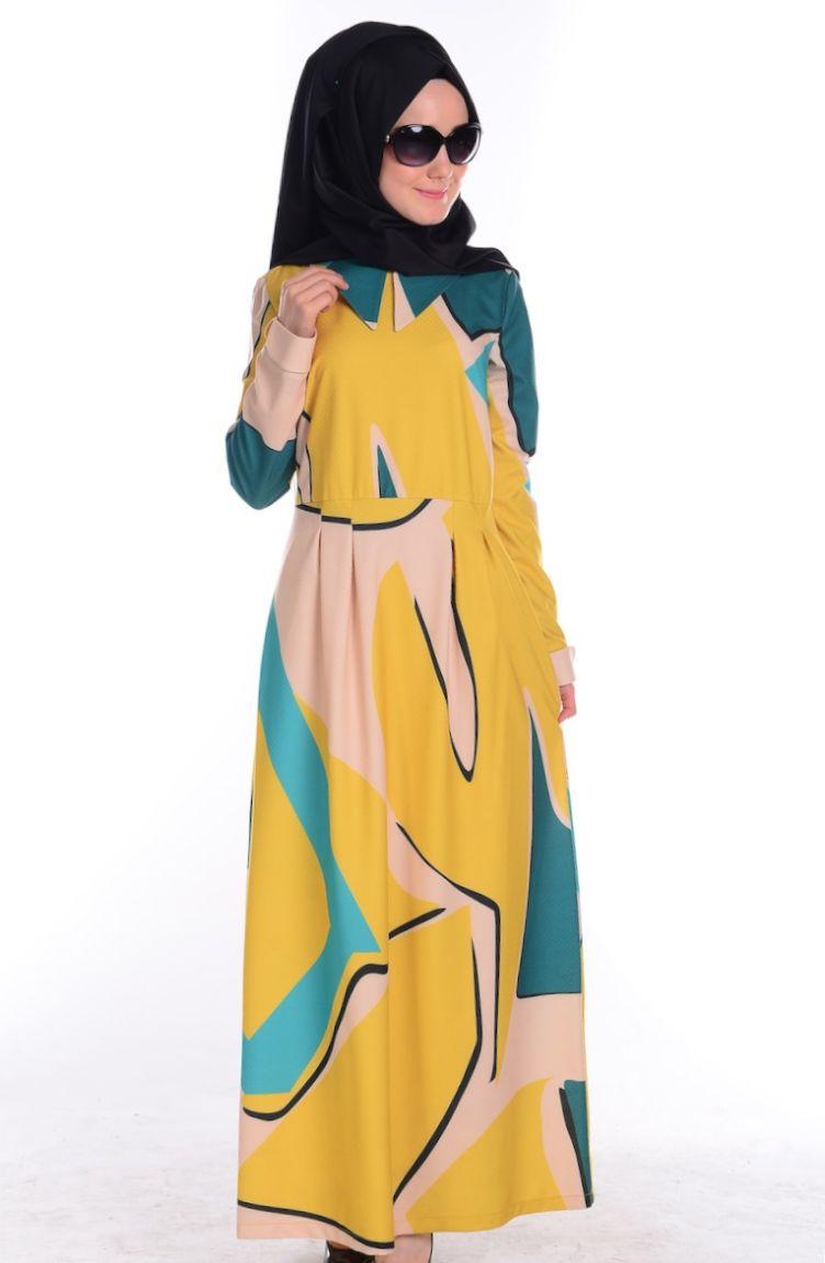 Şükran Tesettür Kombin Tesettür Elbise Şükran 4165-05 Yeşil Sarı