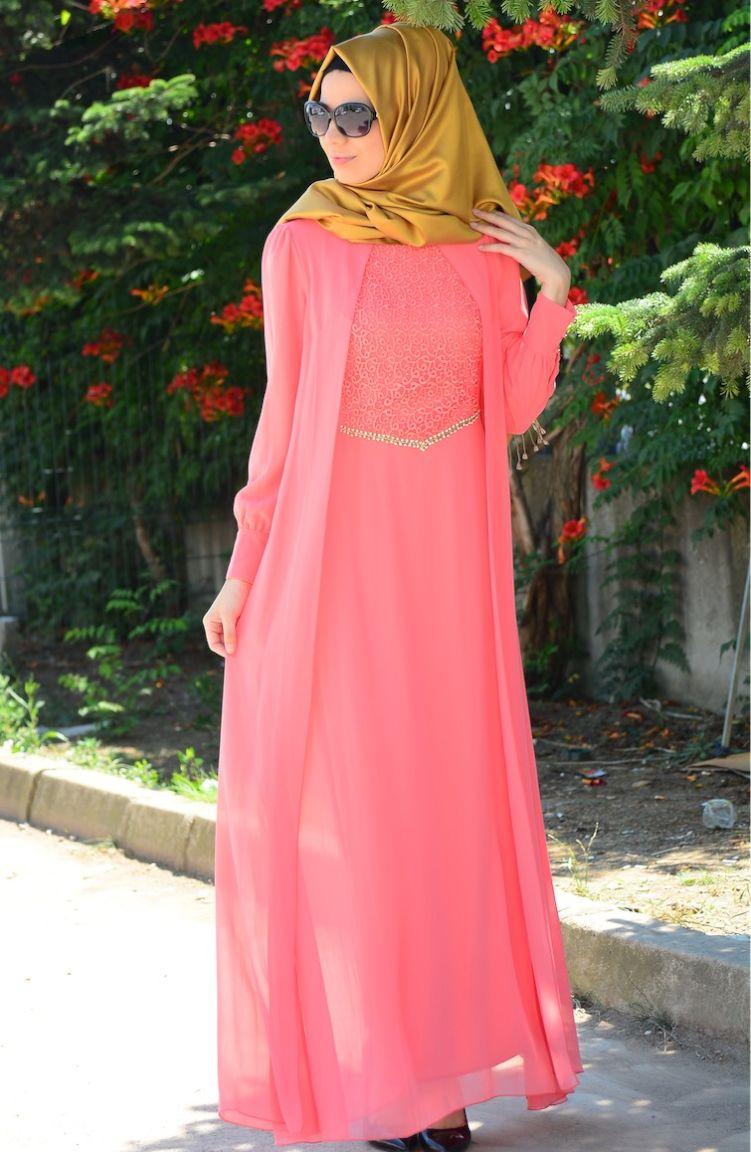 Sefamerve Abiye Modelleri Tesettür Elbise FY 52264-01 Mercan