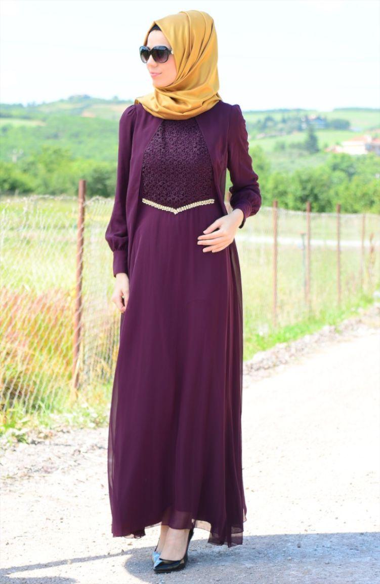 Sefamerve Abiye Modelleri Tesettür Elbise FY 52264-02 Mor