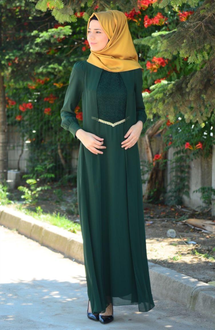 Sefamerve Abiye Modelleri Tesettür Elbise FY 52264-05 Yeşil