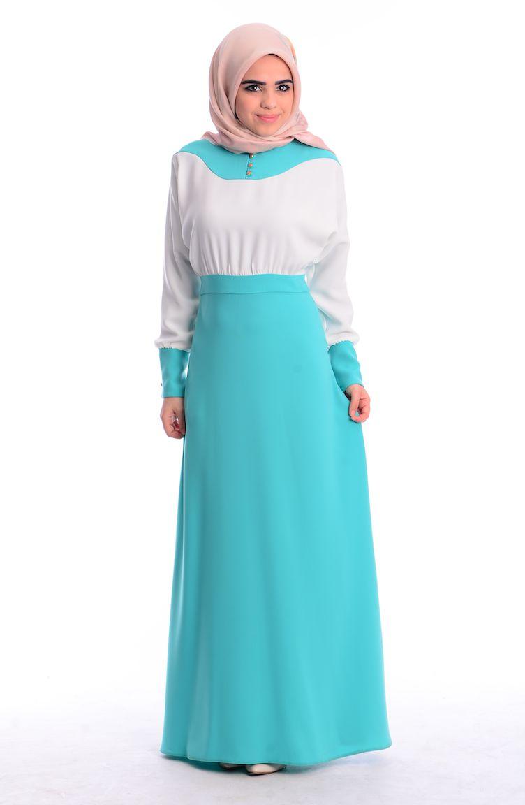 İndirim Günleri ZRF Tesettür Elbise 0444-01 Mint Yeşil