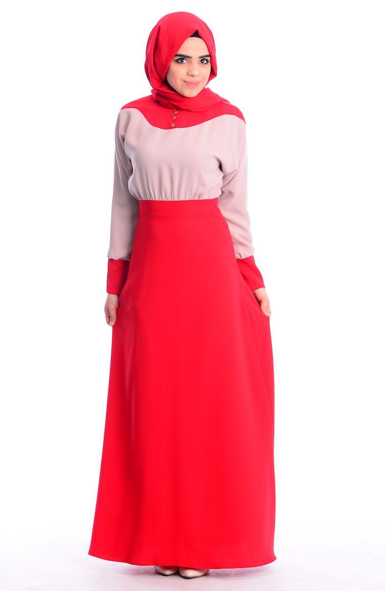 İndirim Günleri ZRF Tesettür Elbise 0444-02 Kırmızı