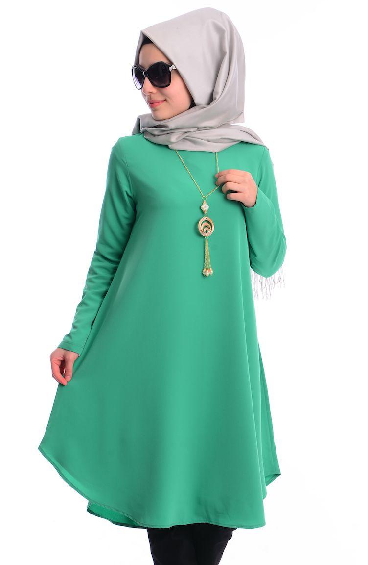 Tesettür Giyim İpekzade Kombinler İpekzade Tesettür Tunik 34573Y-14 Yeşil