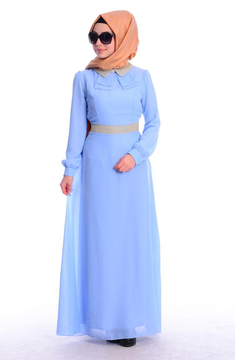 Tesettür Elbise Fy Collection Tesettür Elbise FY 52077-10 Buz Mavi