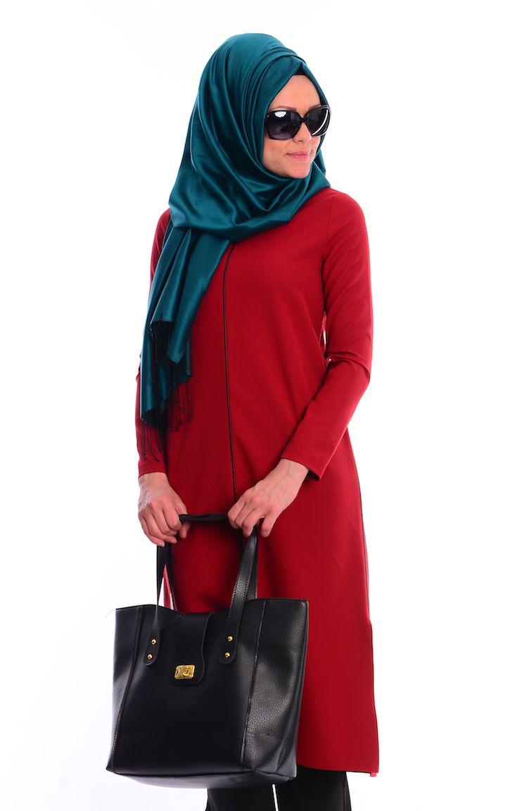 Online Shopping Fest Uzun Tunik Chalah 0101-01 Bordo