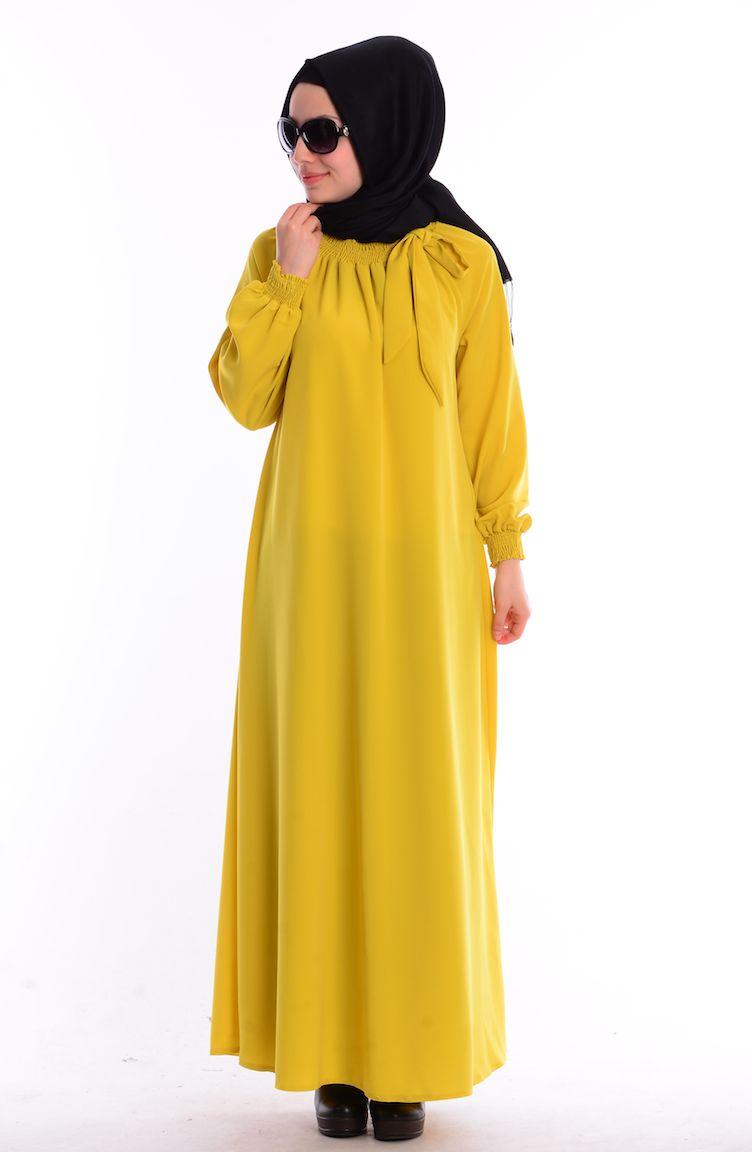 Mileny Tesettür Kombinler Mileny Tesettür Elbise 8002-12 Fıstık Yeşil