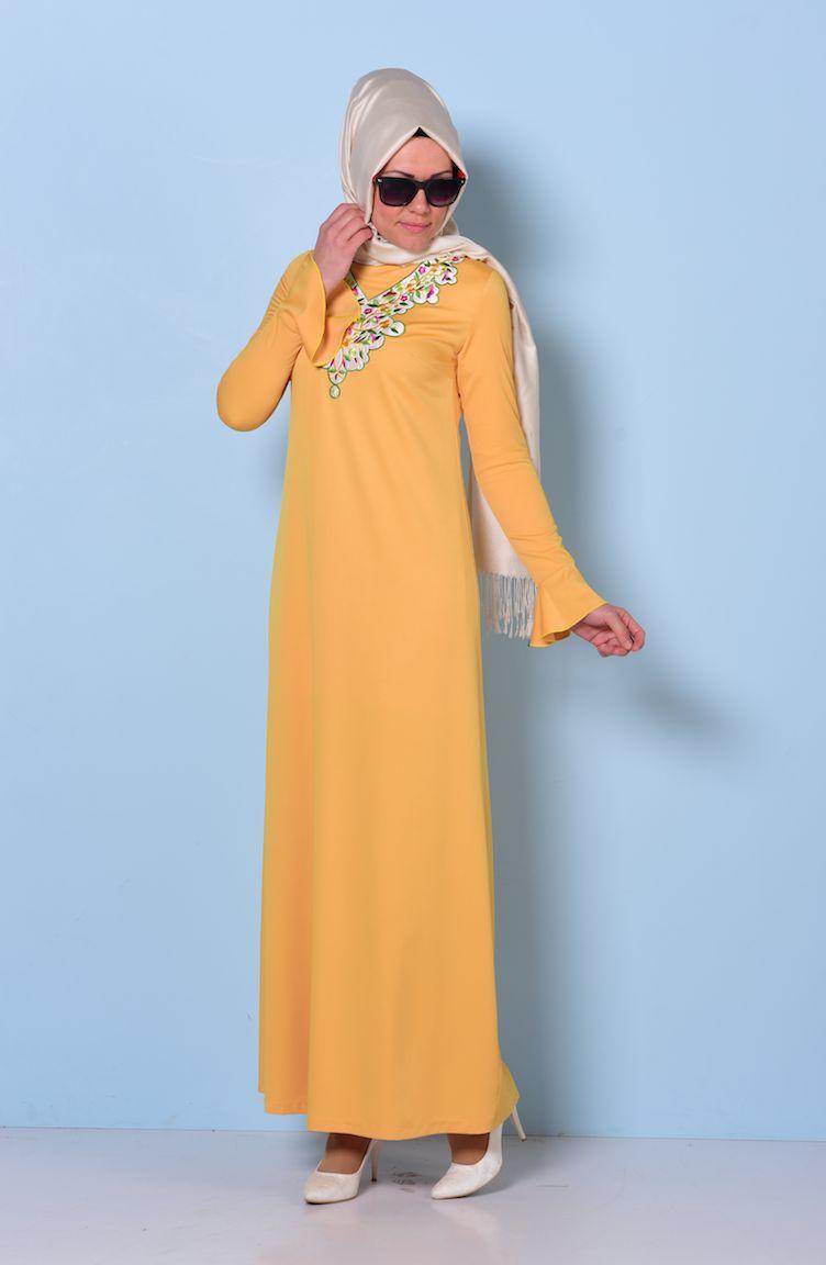 yakası nakışlı elbise 0067-03 hardal