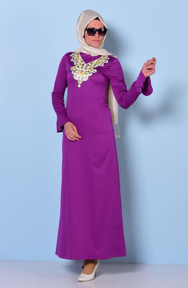 yakası nakışlı elbise 0067-04 mor