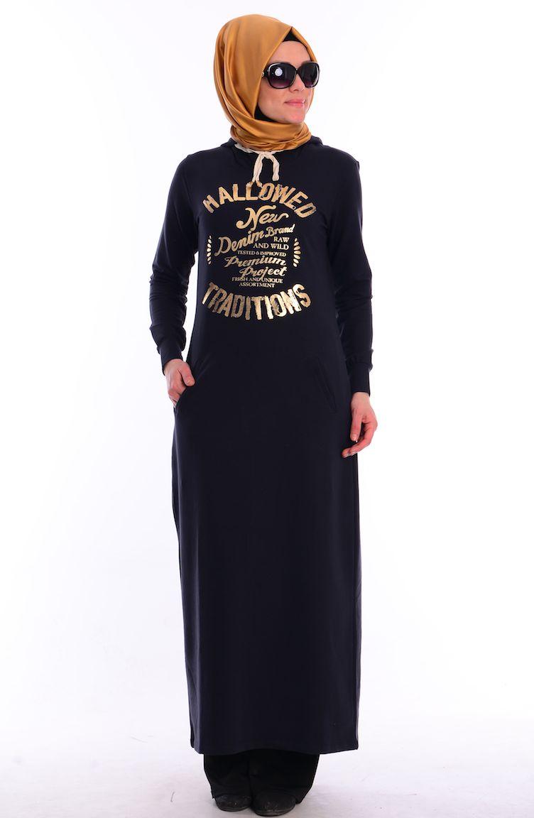 Crn Tesettür Giyim Tesettür Eşofman Üst CRN 2000-06 Lacivert Gold