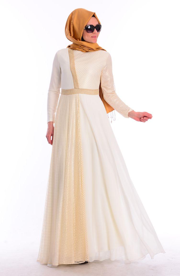 Sefamerve Abiye Modelleri Tesettür Abiye Elbise 1416-01 Ekru