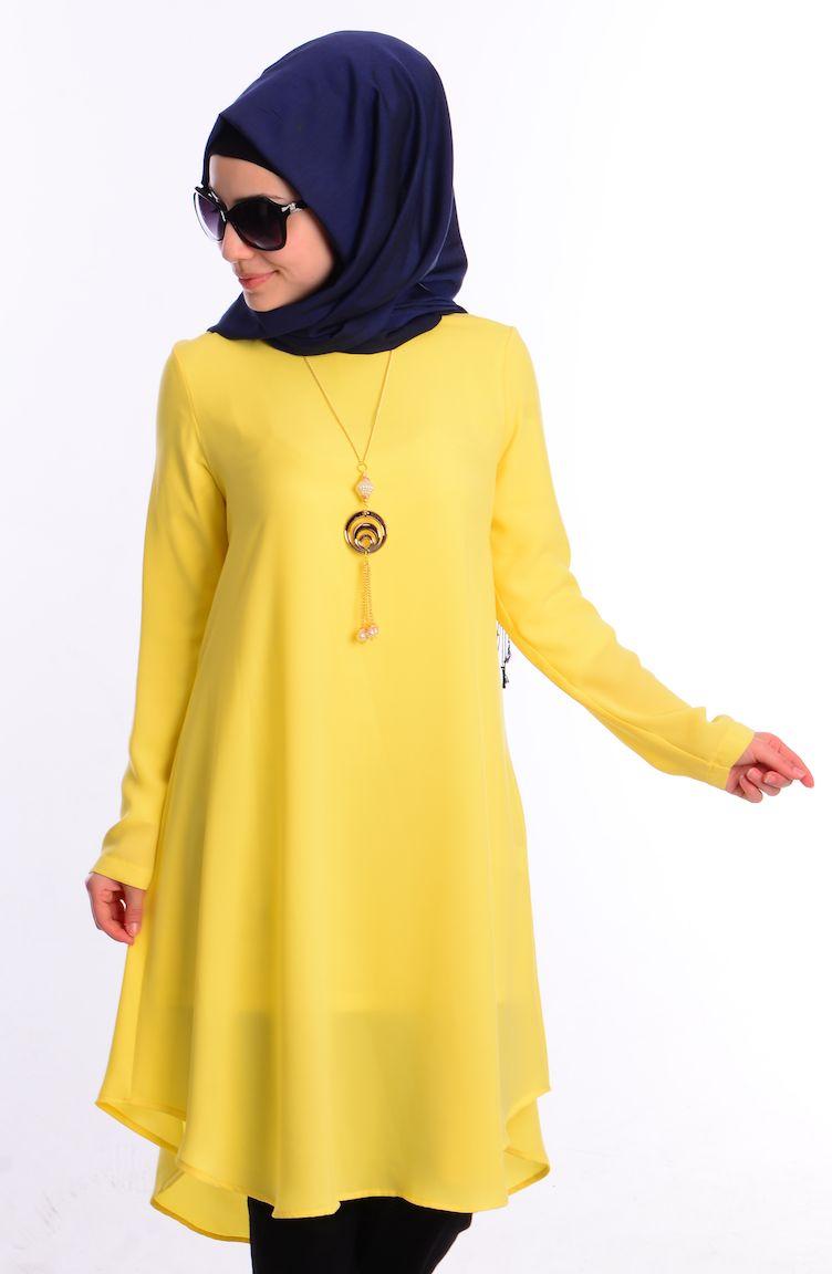 Tesettür Giyim İpekzade Kombinler İpekzade Tesettür Tunik 34573Y-17 Sarı