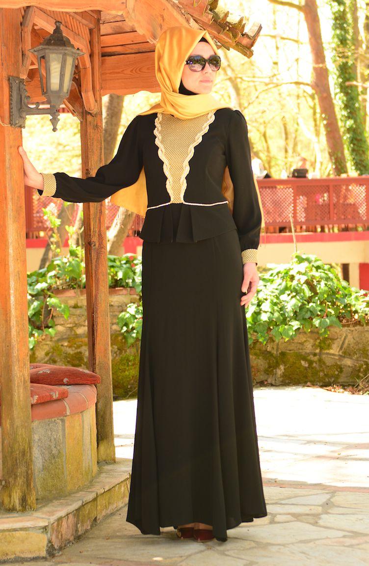 Sefamerve Abiye Modelleri Tesettür Abiye Elbise 3111-05 Siyah