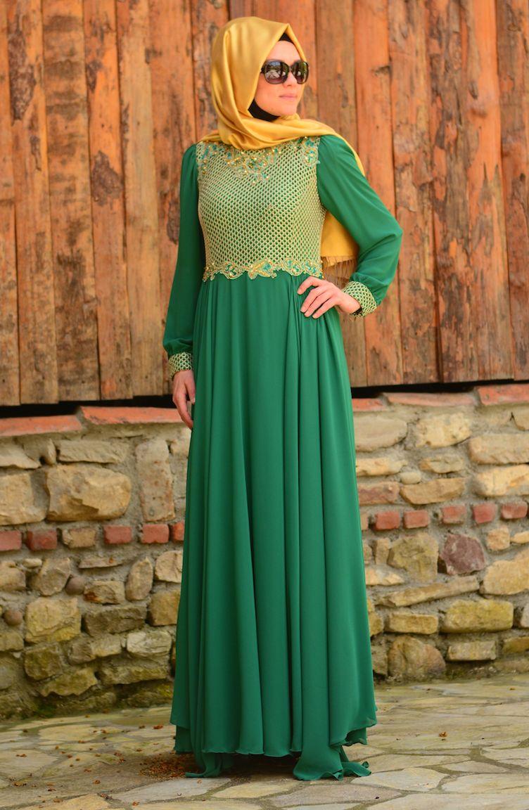 Sefamerve Abiye Modelleri Tesettür Abiye Elbise 3124-02 Yeşil