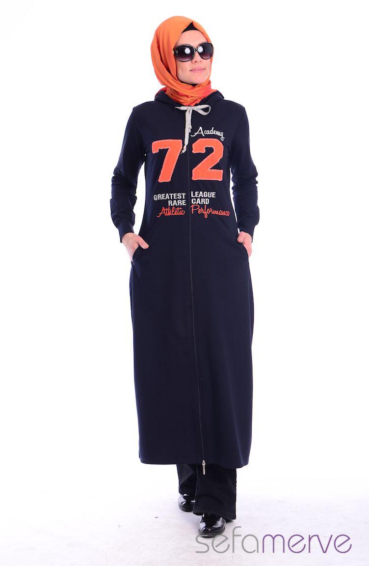 Crn Tesettür Giyim Tesettür Eşofman Üst CRN 4000-02 Lacivert Oranj