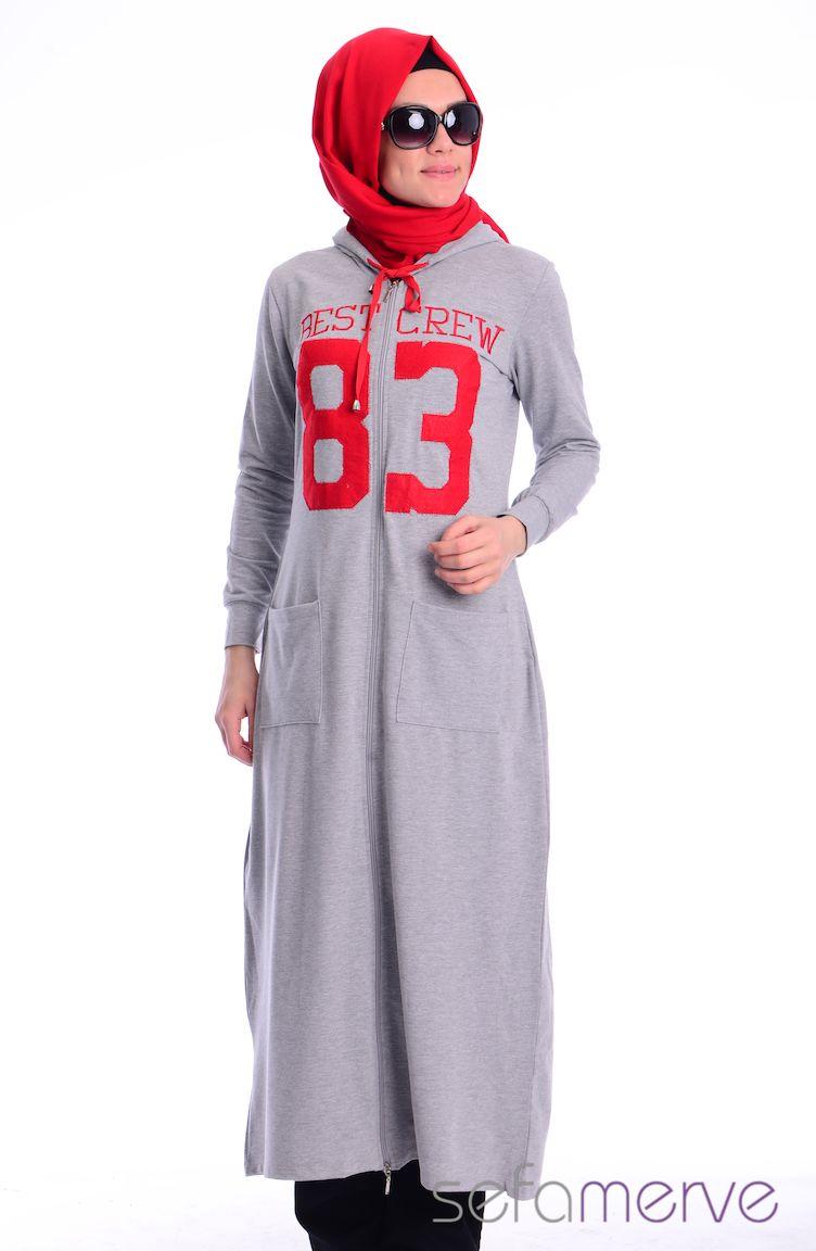 Crn Tesettür Giyim Tesettür Eşofman Üst CRN 5000-04 Gri Kırmızı
