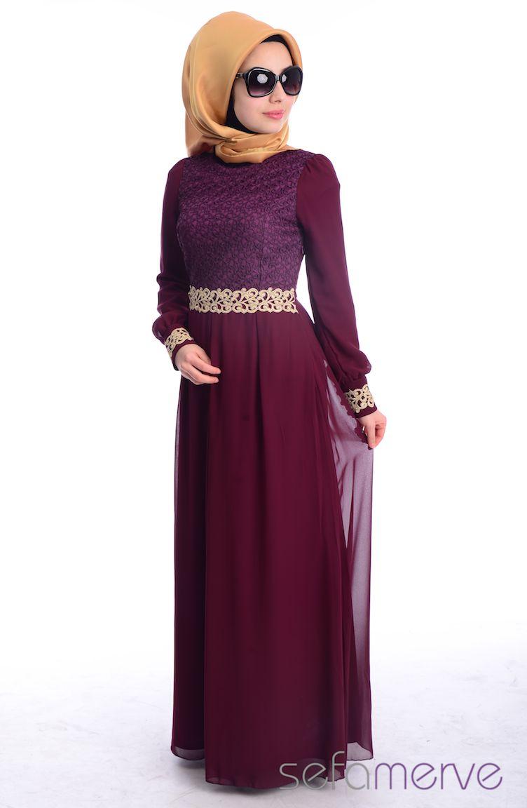 Tesettür Elbise Fy Collection Tesettür Elbise FY 51983-10 Mürdüm