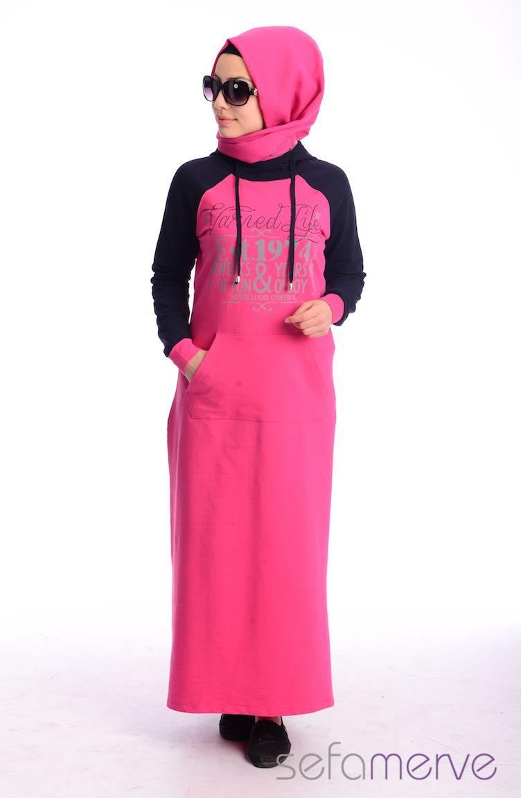 Crn Tesettür Giyim Eşofman Tesettür Elbise CRN 1000-01 Fuşya Lacivert