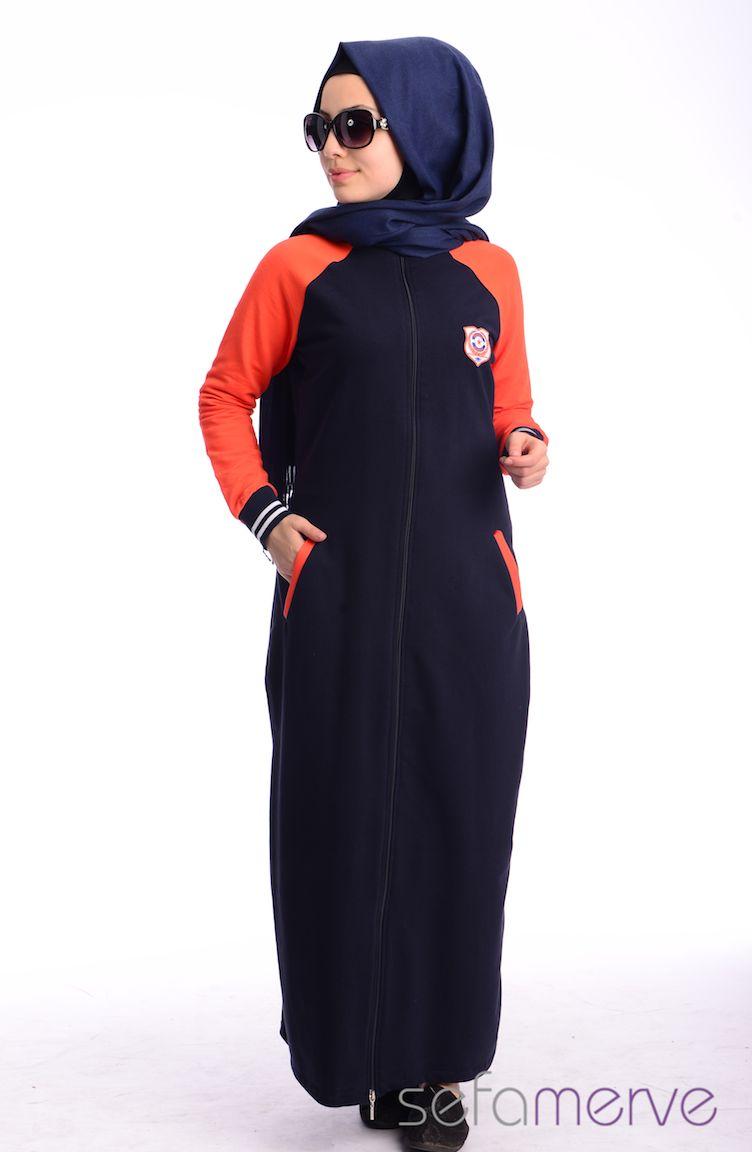 Crn Tesettür Giyim Tesettür Eşofman Elbise CRN 3000-02 Lacivert Turuncu