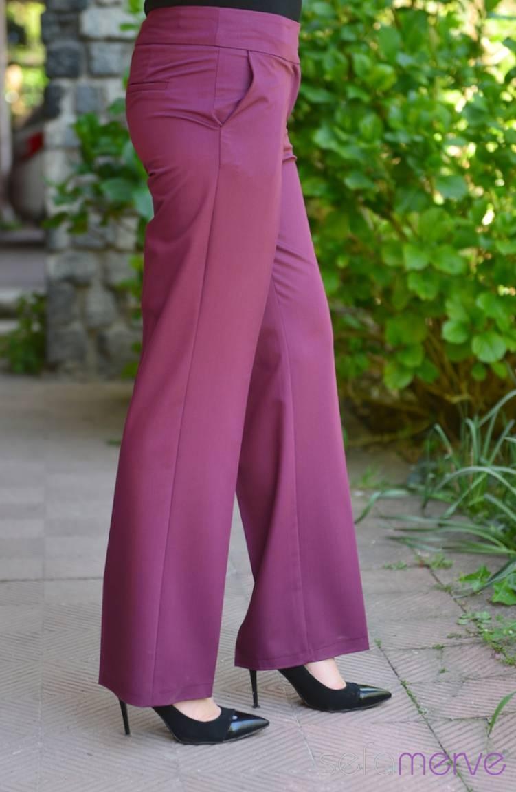 Tesettür Giyim Modesty Kombinler Pantolon 1006-02 Mürdüm