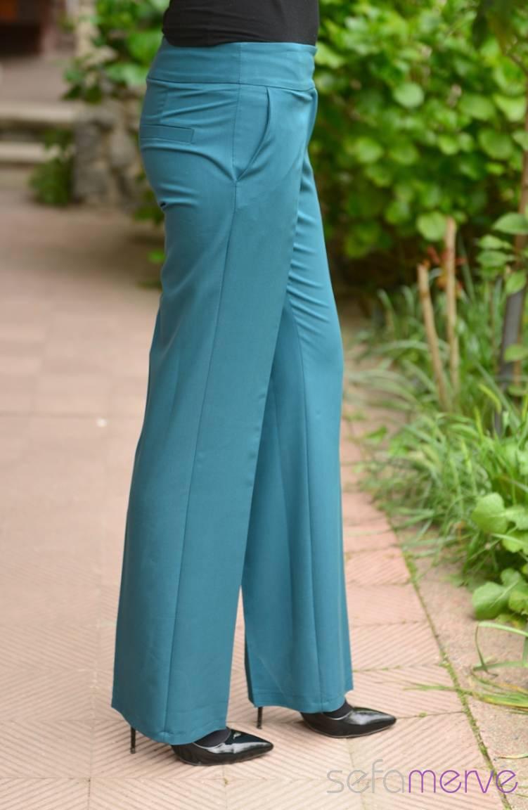Tesettür Giyim Modesty Kombinler Pantolon 1006-08 Petrol