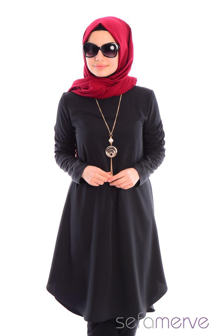 Tesettür Giyim İpekzade Kombinler İpekzade Tesettür Tunik 34573Y-09 Siyah