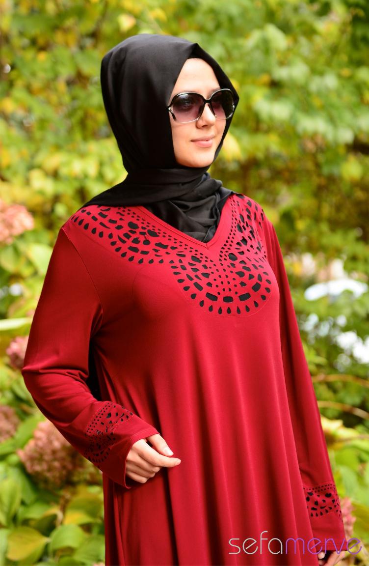 Tesettür Büyük Beden Kıyafetler Yeni Sezon Elbise Modeli SHALL 2642-02 Bordo