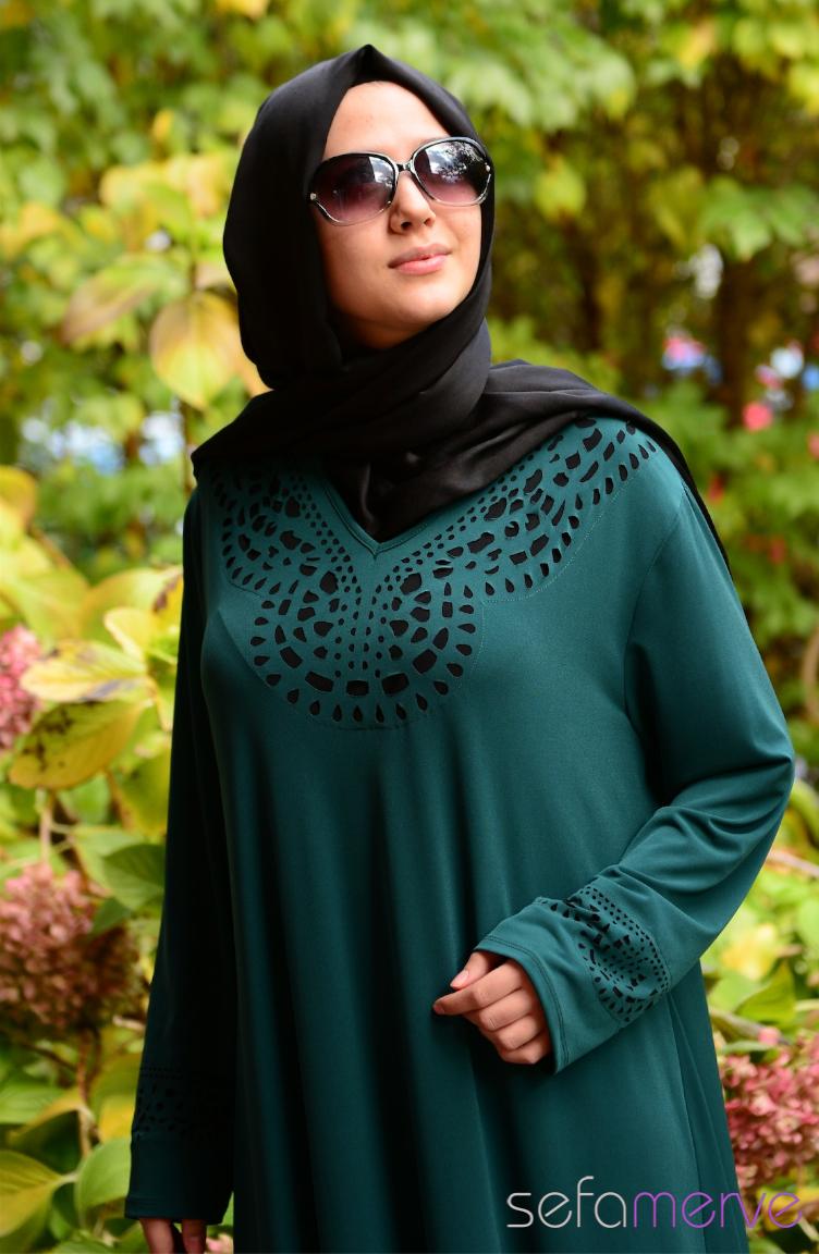 Tesettür Büyük Beden Kıyafetler Yeni Sezon Elbise Modeli SHALL 2642-03 Yeşil