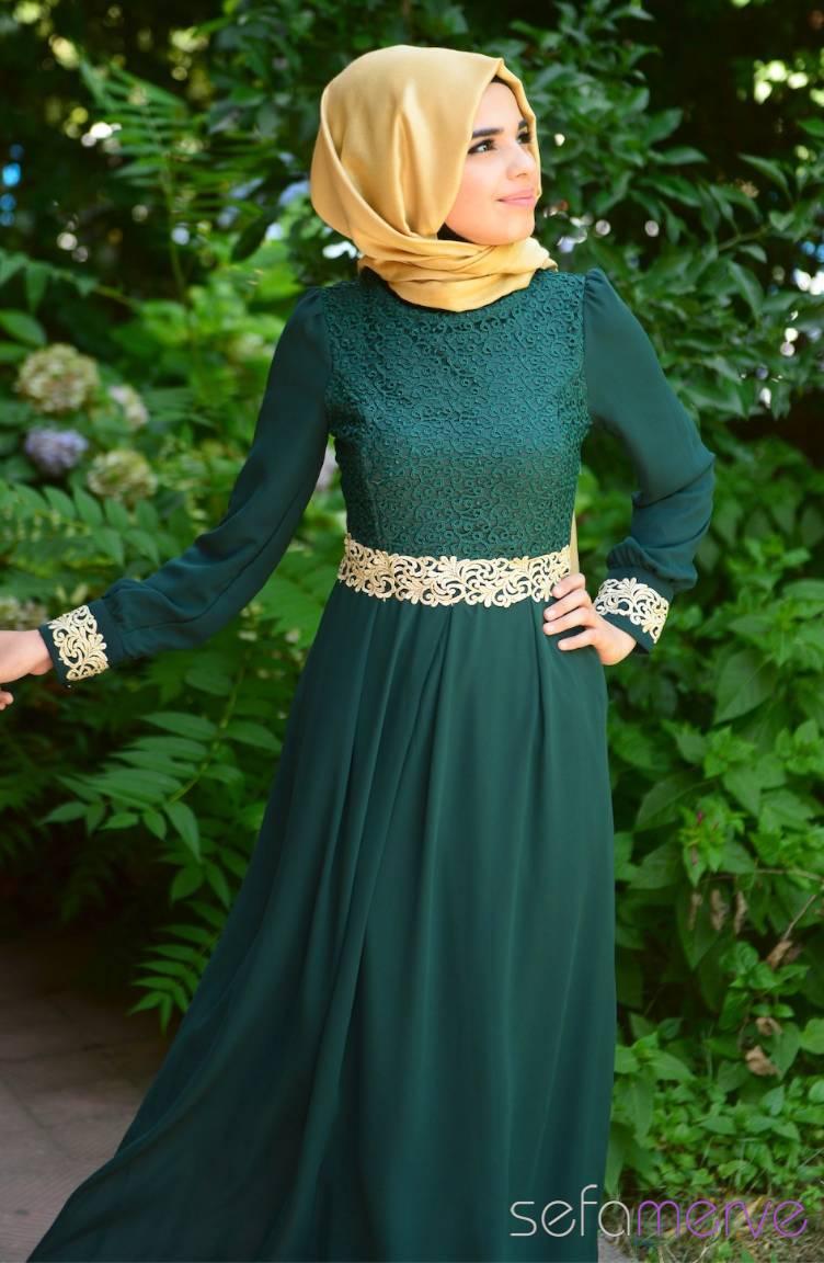 Tesettür Elbise Fy Collection Tesettür Elbise FY 51983-08 Yeşil